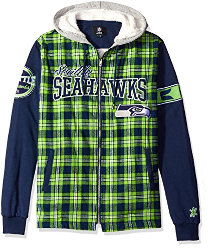 Seattle Seahawks Flannel Hooded Jacket - Mens Extra Large