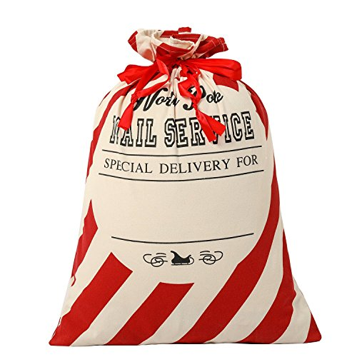 SHUNHAO Extra Large Cotton Santa Sacks with Drawstring Tie Closure Personalized Jumbo Santa Bags for Storing Large Storage Bag Holiday Presents