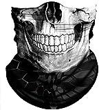 Obacle Skull Face Mask Half for Dust Wind UV Sun Protection Seamless 3D Tube Mask Bandana for Men Women Durable Thin Breathable Skeleton Mask Motorcycle Riding Biker Cycling (Black White Skull)