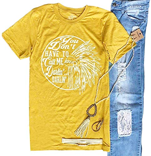 LUKYCILD You Don't Have to Call Me Darlin' T-Shirt Women Short Sleeve Country Music Graphic Print Shirt Top Size L (Yellow)