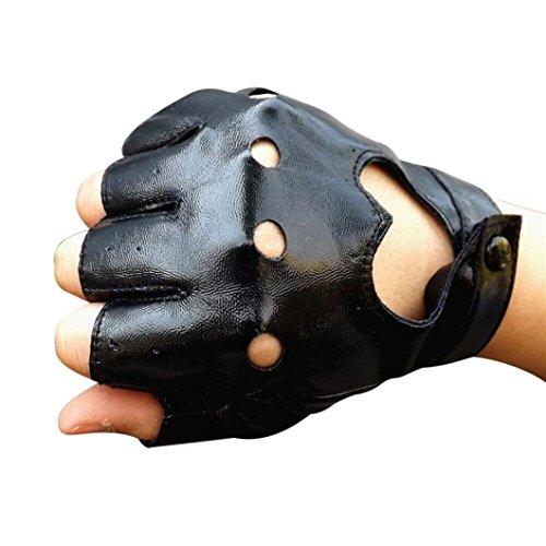 Lavany Women's Girls Winter Driving Sports Fingerless Imitation leather Gloves (Black) - Kid Leather Driving Gloves