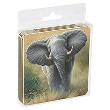 Tree-Free Greetings Set Of 4 Cork-Backed Coasters, 3.75x3.75-Inch, Elephant Themed Wildlife Art (52702)
