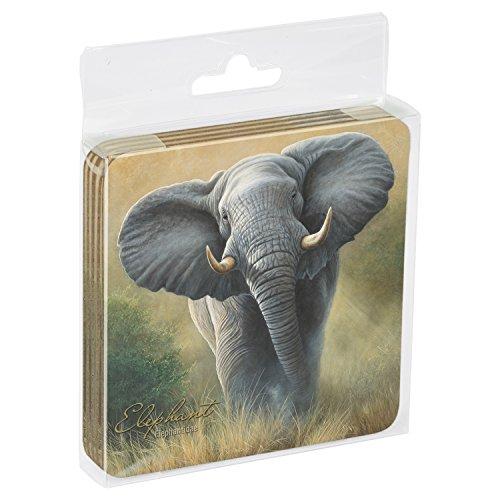 Set Of 4 Cork-Backed Elephant Coasters<br>Tree-Free Greetings