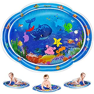 Seeyentic Tummy Time Baby Water Mat, Newest Inflatable Infant Activity Play Mat, Sensory Toys for Your Baby's Stimulation Growth, BPA Free 28x22 inch