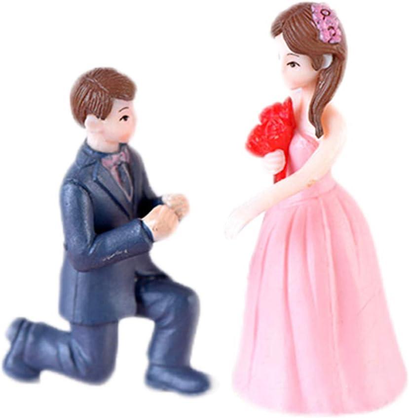 Wansan 1 Set Miniature Bride and Groom Figurine for Home Decor Miniature Fairy Garden Decoration Ornament Girls Women Gifts