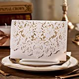 Horizontal Laser Cut Wedding Invitation Cards with Hollow Flora Favors Cardstock for Engagement Bridal Shower (100)