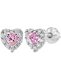 925 Sterling Silver Pink Clear CZ Heart Screw Back Baby Girl Earrings Infants