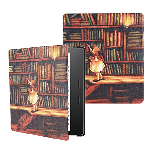 Boskin Water-Safe Case for All New Kindle Oasis 7 inch case 2019/2017 Release- PU Leather Smart Cover with Auto Wake/Sleep Cover (Library)