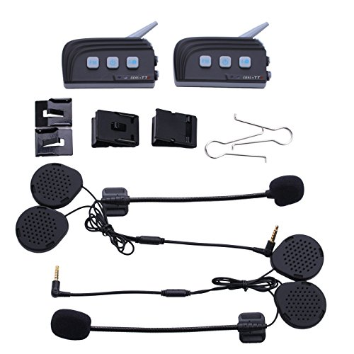 Wisamic 2x TTS Waterproof Dual bluetooth 4.0 Motorcycle Intercom Helmet Headset for 4 Riders 1200M with FM Stereo 15 Hours Talk Time