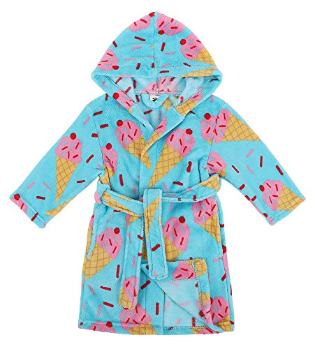 Hooded Blue Robe (Verabella Boys Spa Robe Plush Super Soft Fleece Hooded Bathrobes Robe,Blue,M)