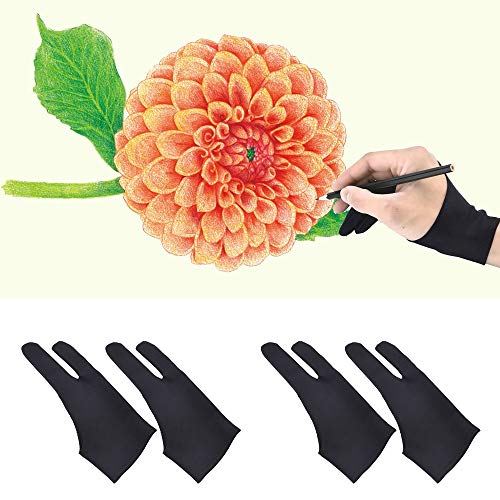 2pcs Professional 2-Fingers Tablet Drawing Anti-fouling Gloves for Graphic Tablet Art Pen Display Pencil Black
