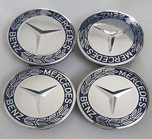 (Cardiytools 4Pcs/Set 75mm Blue Wheel Center Caps Emblem Badge Car Hub Cap for Mercedes Benz )
