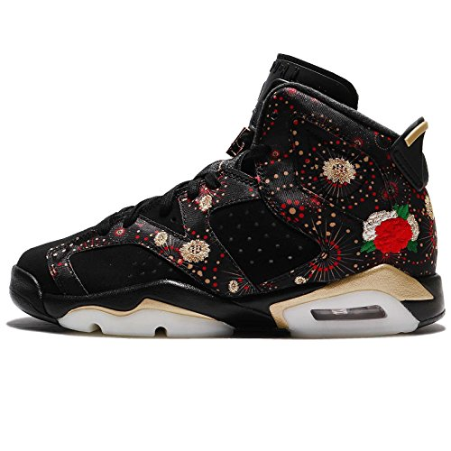 Jordan Kid's Air 6 Retro CNY BG, Black/Metallic Gold-Multi, Youth Size 6 by Jordan
