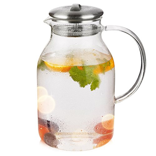 Hiware 68 Ounces Glass Pitcher with Lid and Spout - High Heat Resistance Stovetop Safe Pitcher for Hot/Cold Water & Iced Tea by Hiware (Image #2)