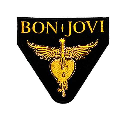 Wasuphand Bon Jovi Heart ‡ Yellow Rock Music Band Patch Embroidered Iron on Hat Jacket Hoodie Backpack Ideal Vest Cap (Bon Patch Jovi)