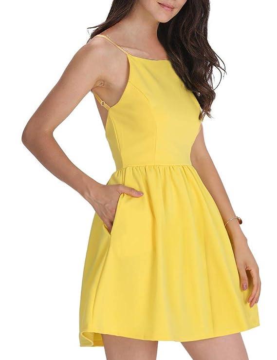 FANCYINN Women Sexy Backless Spaghetti Strap Floral Print Short Mini Casual Dress Yellow S