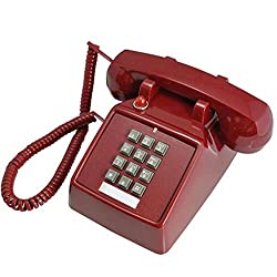 FADACAI Telephone Landline Old-fashioned push-button Antique phone Mechanical ringing , red