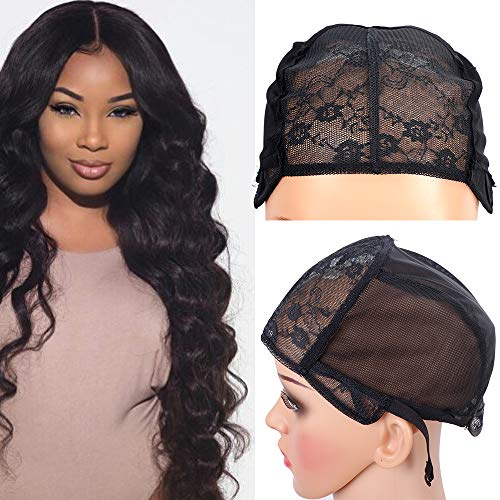 2PCS Glueless Double Lace Wig Caps Swiss Lace Adjustable Straps Breathable Large Black Weaving Cap for Making Wig]()