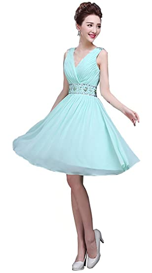 Drasawee Womens V Neck Open Back Chiffon Short Bridesmaid Dress Prom Party Gown Mint Green UK8