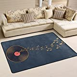 Comfortable Style Music Note with Musical Record Area Rugs Pad Non-Slip Kitchen Floor Mat for Living Room Bedroom 2' x 3' Doormats Home Decor