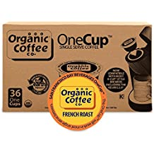 Organic Coffee Co. OneCup, French Roast, 36 Count- Single Serve Coffee, Compatible with Keurig K-cup Brewers, USDA Organic