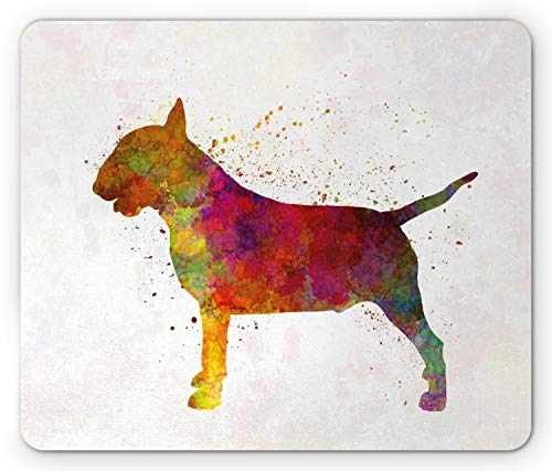 Lunarable Bull Terrier Mouse Pad, Grungy Splash Painting of Silhouette Style Dog Illustration, Standard Size Rectangle Non-Slip Rubber Mousepad, Multicolor ()