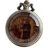 VIGOROSO Bell Tower Steampunk Bronze Pocket Watch Vintage Retro Men Lady Gift Necklace Pandant