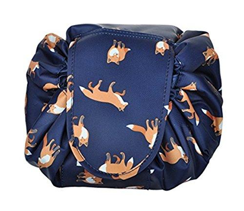 VOJUAN Casual Waterproof Women Toiletry Bags Folding Large Capacity Lazy Cosmetic Bags (Dark blue fox)