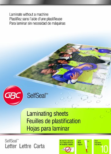 [Swingline GBC SelfSeal Self Adhesive Laminating Sheet, Letter Size, Glossy, 3 Mil, 10 Pack (3747308)] (Self Adhesive Laminating Pouch)
