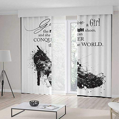 (ALUONI Decor Collection,Quote,for Bedroom Living Dining Room Kids Youth Room,Give A Girl The Right Shoes and She Can Conquer The World Woman Fashion Art Print2 Panel Set,103W X 83L Inches)
