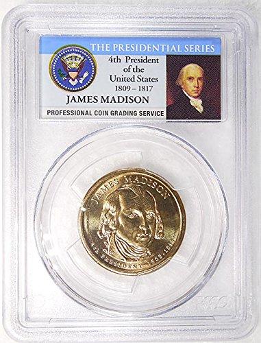 2007 D Pos. B James Madison Presidential Dollar PCGS MS 65 FDI Presidential Label Holder
