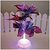 Funpa Christmas Fiber Optic Light, Multicolor Flowers Leaves Night Light Bedroom Lamp for Wedding Gift Xmas Party Decoration Centerpiece