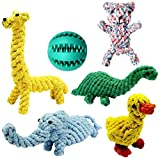 Achivy 6 Piece Animal Design Cotton Rope Dog Toys with Puppy Pet Play Chew Rubber Treat Ball, Interactive Training for Small to Medium Dogs