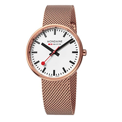 Mondaine Women's SBB Swiss-Quartz Watch with Stainless-Steel-Plated Strap, Rose Gold (Model: A763.30362.22SBM)