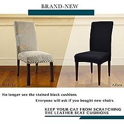 Subrtex Jacquard Stretch Dining Room Chair Slipcovers (4, Black Jacquard)