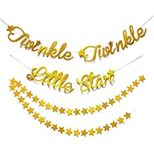 2-Pack Star Banner Garland Decorations - Twinkle Twinkle Star Baby Shower Party Decor, Gold Stars Banner, Birthday Decorations for Children, Parties - 10 Feet in Length