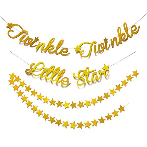 Blue Panda Star Garland Decorations - 2-Pack Gold Stars Banner Baby Shower Supplies, Kids Birthday Party Decorations Twinkle Twinkle Little Star Letters, Gold, ()
