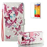 For Samsung Galaxy S8 Plus Case [with Free Screen Protector], Funyye Premium New 3D Folio PU Leather Wallet Magnetic Flip Cover with [Wrist Strap] and [Colorful Printing Painting] Stylish Book Style Full Body Protection Holster Case for Samsung Galaxy S8 Plus-Little Butterfly
