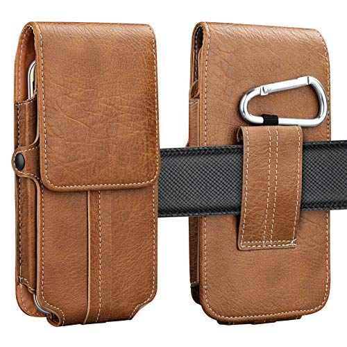 Njjex Phone Holster, Vertical Luxury PU Leather Belt Clip Pouch Wallet Carrying Case & Card Slots for Moto Z2 Z3 Z4 Play, X4, E4, E5 Play, E5 Plus, G6 Play, G6 Forge, G7 Plus, G7 Power, G7 Play -Brown ()