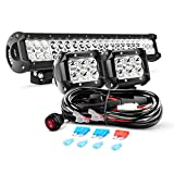 Nilight ZH002 20Inch 126W Flood Combo Road Light Bar 2PCS 18w 4Inch Spot LED Pods with 16AWG Wiring Harness Kit-2 Lead,...