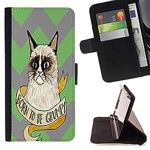 - Chevron Grumpy Cat - - Premium PU Leather Wallet Case with Card Slots, Cash Compartment and Detachable Wrist Strap FOR HTC Desire 820 D820 d820t King case