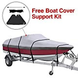 ski boat cover - KAKIT Waterproof All Seasons 600D Polyester Trailerable Boat Cover for 17-19'/20-22' V-Hull Tri-Hull Runabout,Free Boat Cover Support Kit & Storage Bag