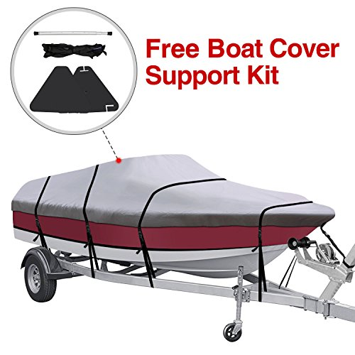 (KAKIT Waterproof All Seasons 600D Polyester Trailerable Boat Cover for 17-19'/20-22' V-Hull Tri-Hull Runabout,Free Boat Cover Support Kit & Storage Bag)