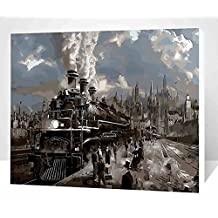 JynXos DIY Paint By Number 16 X 20 Kit Steam Train Without Wooden Frame