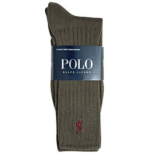 Polo Ralph Lauren Men's Classic Crew Socks with Pony Logo (Dark Olive)