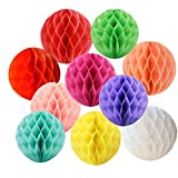 LG-Free 10Pcs DIY Handmade 8 inch Art Paper Honeycomb Balls Party Design Wall Decoration Flower Balls Hanging Pom Poms Party Wedding Birthday Nursery Home Decor