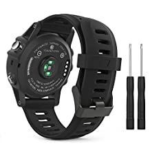 Garmin Fenix 3 / Fenix 5X Accessories, MoKo Soft Silicone Replacement Watch Band with Tools for Garmin Fenix 3 / Fenix 3 HR Smart Watch - BLACK