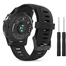 MoKo Garmin Fenix 3/Fenix 5X Watch band, Soft Silicone Replacement Watch Band for Garmin Fenix 3/Fenix 3 HR/Fenix 5X/5X Plus/Descent Mk1 Smart Watch - BLACK