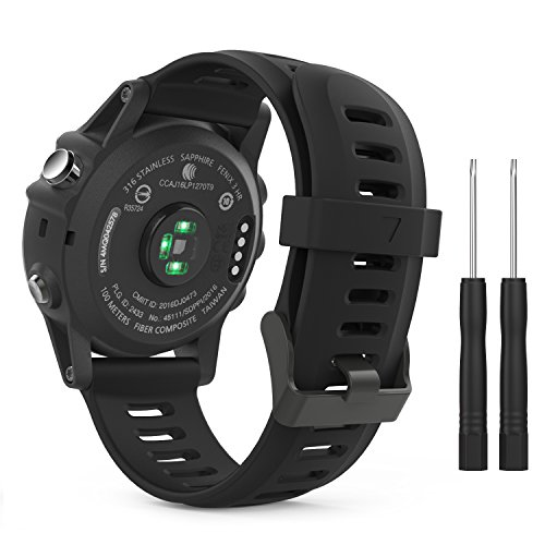 Garmin Fenix 3 / Fenix 5X Accessories, MoKo Soft Silicone Replacement Watch Band with Tools for Garmin Fenix 3 / Fenix 3 HR Smart Watch - BLACK