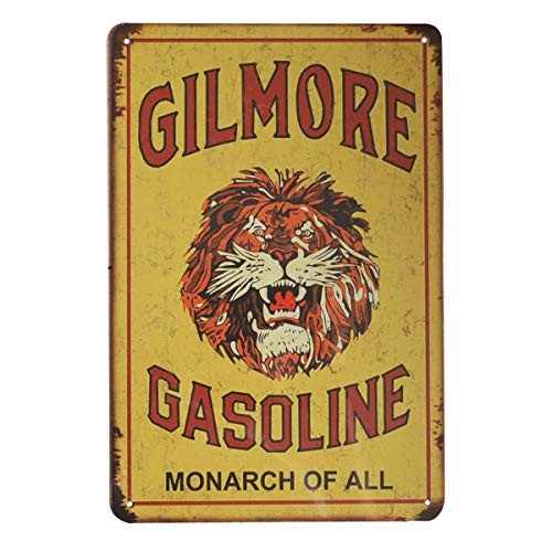(PEI's Gilmore Gasoline Classic Lion Head Retro Vintage Tin Sign, Wall Decor for Home Garage Bar Man Cave Gas Station, 8